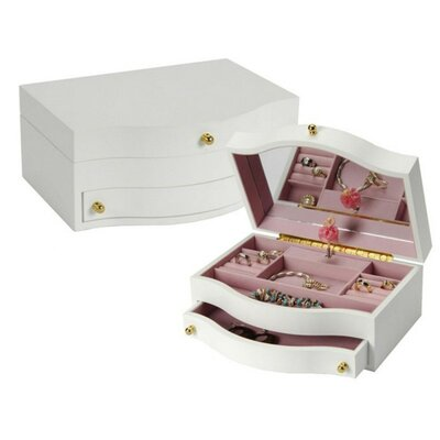 Small White Musical Children's Jewelry Box W/ Ballerina