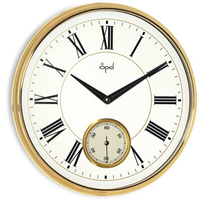 Opal Luxury Time Products Opal Wall Clock with Roman Numerals in Gold