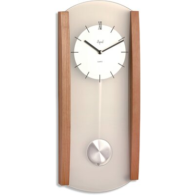 Opal Wood and Frosted Glass Pendulum Clock in Medium Brown