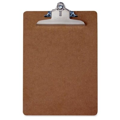 Saunders Hardboard ClipboaRed, Letter, 9&quot;x1/8&quot;x12-1/2&quot;, Brown