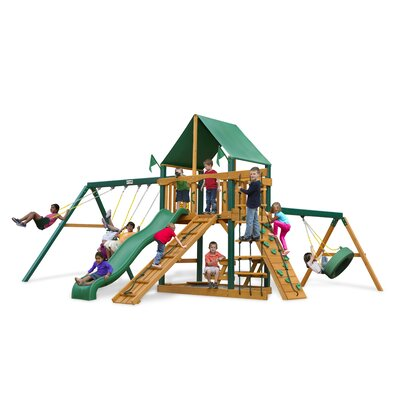 Gorilla Playsets Frontier Swing Set with Green Vinyl Canopy