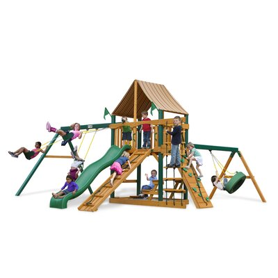 Gorilla Playsets Frontier Swing Set with Western Ginger Sunbrella