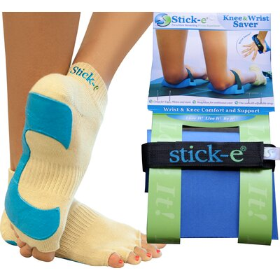 Stick-E Yoga Socks, Knee and Wrist Saver Combo