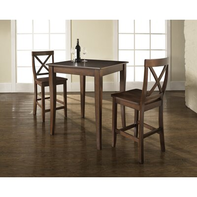 Crosley Three Piece Pub Dining Set with Cabriole Leg Table and X-Back Barstools in Vintage Mahogany