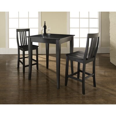 Crosley Three Piece Pub Dining Set with Cabriole Leg Table and Barstools in Black