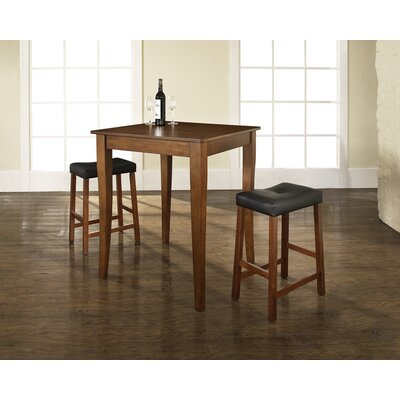 Crosley Three Piece Pub Dining Set with Cabriole Leg Table and Saddle Seat Barstools in Classic Cherry