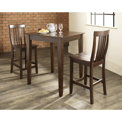 Crosley Three Piece Pub Dining Set with Tapered Leg Table and Barstools in Vintage Mahogany