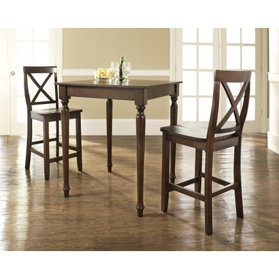 Three Piece Pub Dining Set with Turned Leg Table and X-Back Barstools in Vintage Mahogany ...