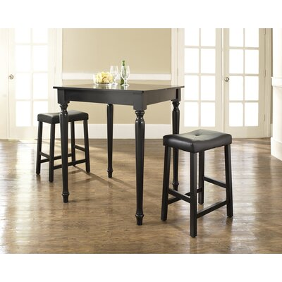 Crosley Three Piece Pub Dining Set with Turned Leg Table and Saddle Seat Barstools in Black