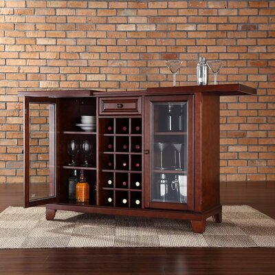 Crosley Newport Sliding Top Bar Cabinet in Vintage Mahogany