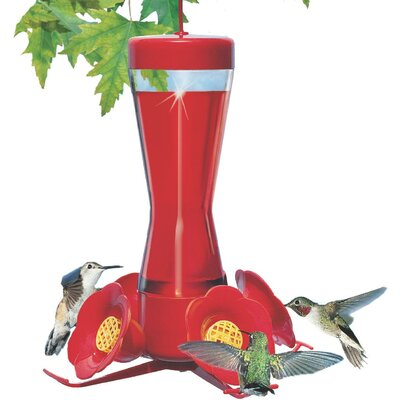 Woodstream Hummingbird Pinch Waist Glass Hummingbird Feeder in Red