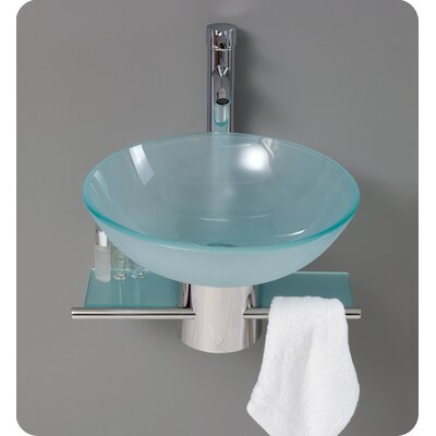 Fresca Cristallino Modern Glass Bathroom Vanity with Frosted Vessel Sink