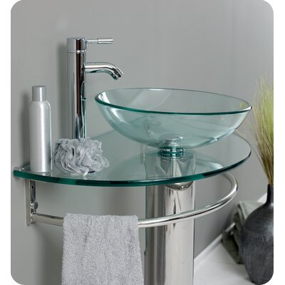 Fresca Attrazione Modern Glass Bathroom Vanity with Frosted Edge Mirror