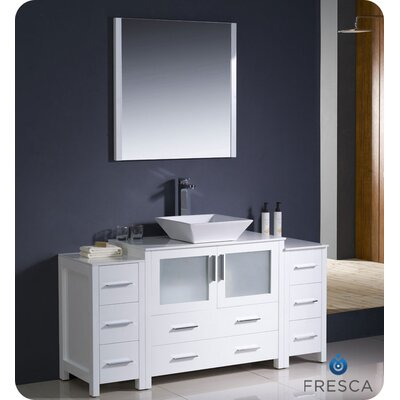 Fresca Torino 60&quot; Modern Bathroom Vanity with 2 Side Cabinets and Vessel Sink