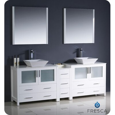 "Fresca Torino 84"" Modern Double Sink Bathroom Vanity with Side Cabinet and Vessel Sinks"