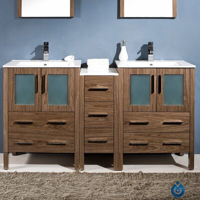 Pictures Bathroom Vanities on Fresca Torino 60  Modern Double Sink Bathroom Vanity Set With Side