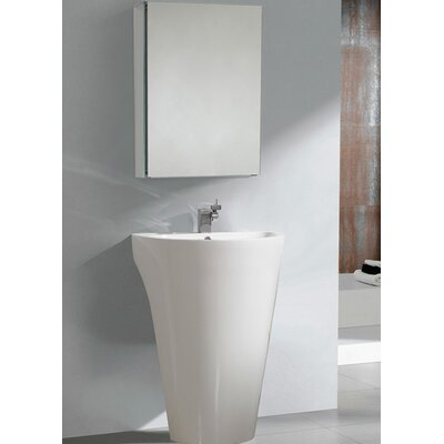 "Fresca Parma 22.5"" Pedestal Sink with Medicine Cabinet - Modern Bathroom Vanity Set"