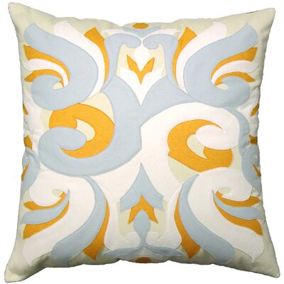 The Sandor Collection Wind and Water Square Pillow in White / Grey / Orange and Shell White