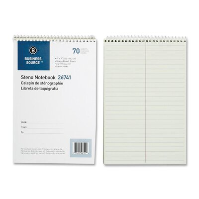 "Business Source Wirebound Steno Notebooks, Greg Ruled, 6""x9"", 70 Sheets, Green Paper"