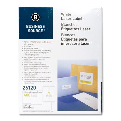 Business Source Mailing Labels,Shipping,Laser,3-1/2&quot;x5&quot;,400 per Pack,White