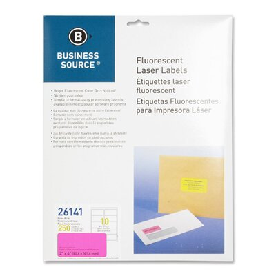 "Business Source Laser Labels, Fluorescent, 2""x4"", 250 per Pack, Neon Pink"