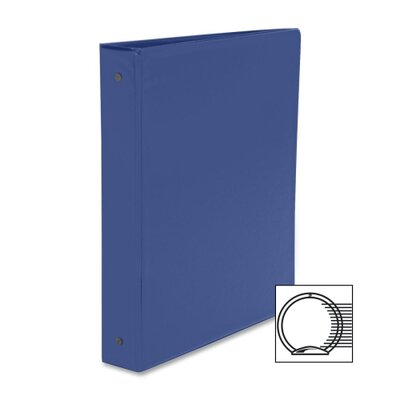 "Business Source Round Ring Binder, w/ Pockets, 1-1/2"", Dark Blue"