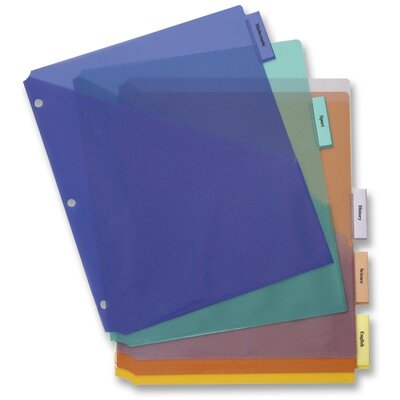 Business Source Poly Index Dividers, w/ Pocket, 8-1/2&quot;x11&quot;, 5-Tab, Multi