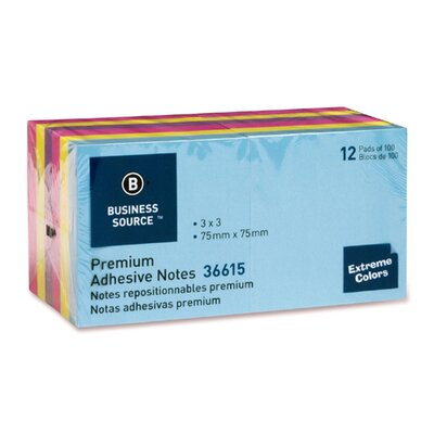 "Business Source Adhesive Notes, 100 Sheets, 3""x3"", 12 per Pack, Assorted Extreme"