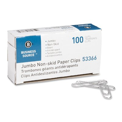 Business Source Paper Clips, Jumbo, Nonskid, 10 BX per Pack, Silver