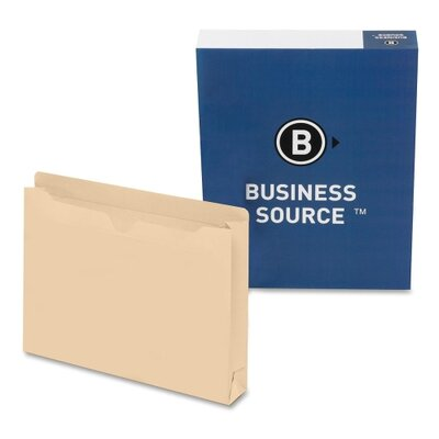 "Business Source Filing Jacket, Letter, 2"" Expansion, Two-Ply, 50 per Box, Manila"