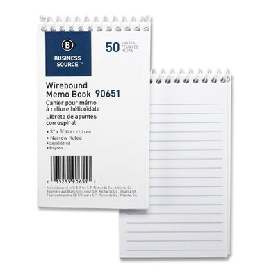 "Business Source Wirebound Memo Book, End Spiral, 50 Sheets, 3""x5"", White, 12-Pack"