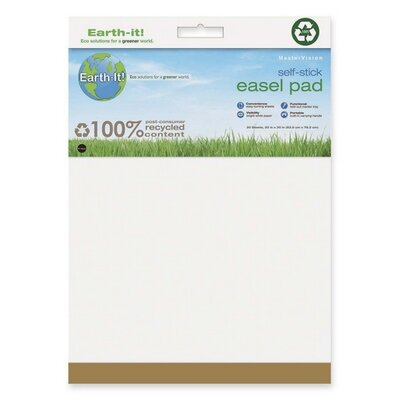 "Bi-silque Visual Communication Product, Inc. Earth It! Self-stick Easel Pad, Plain, 25""x30"", 30 Sh/PD, 2/PK, White"
