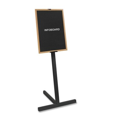 "Bi-silque Visual Communication Product, Inc. Beechwood Standing Letter Board, 2'x3' Board, 63"" H, Beechwood Frame/BK"