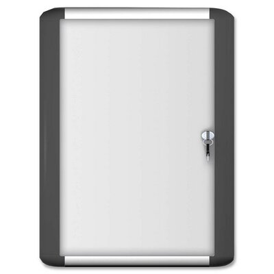 Bi-silque Visual Communication Product, Inc. Acrylic Enclosed Magntc Dry-erase Boards, w/Lock/Key, 3'x4', White Board/Aluminum Frame