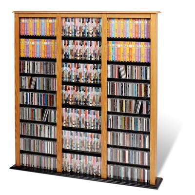 Prepac Floor Media Triple Width Barrister Multimedia Storage Rack