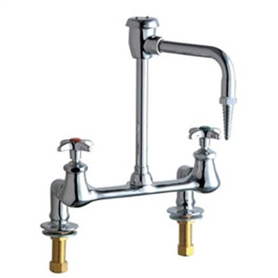 Chicago Faucets Laboratory Deck Mounted Faucet with Vacuum Breaker Spout and Double Cross Handle