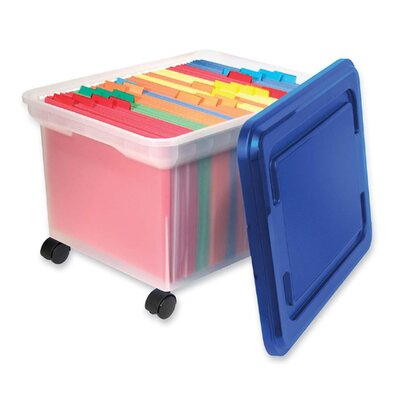 "Innovative Storage Design Rolling File Tote, 18""x14""x10-9/10"", Clear w/ Blue Lid"
