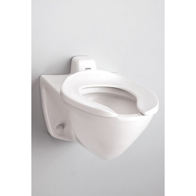 Commercial Wall Mount Flushometer 1.28 GPF Elongated Toilet Bowl Only with Back Spud