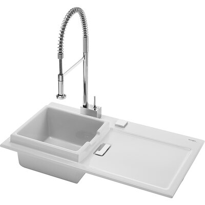 "Duravit Starck K 37.1"" x 21.9"" Drop In Kitchen Sink with Left Bowl"