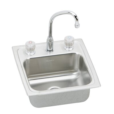 "Elkay Pacemaker 15"" x 15"" Self Rimming Bar Sink with Faucet"