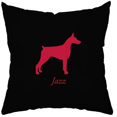 Checkerboard Personalized Doberman Poly Cotton Throw Pillow