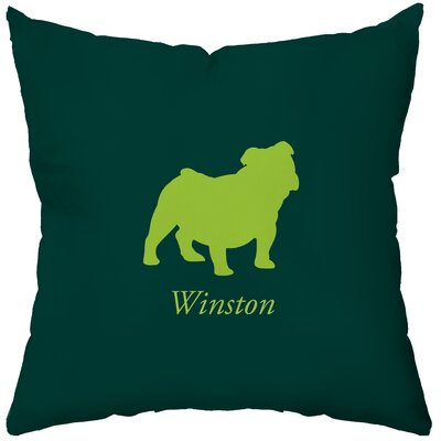Personalized Bulldog Poly Cotton Throw Pillow