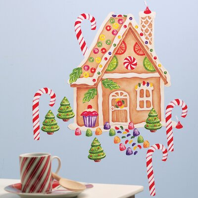 Wallies Gingerbread House Vinyl Holiday Mural Peel and Stick