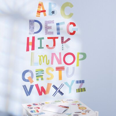 Wallies Alphabet Fun Interactive Vinyl Peel and Stick Wall Play Mural