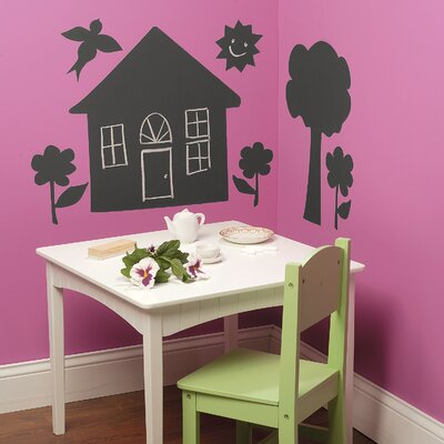 Wallies House and Trees Chalkboard Vinyl Peel and Stick Mural