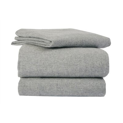 La Rochelle Heather Solid Flannel Sheet Set in Grey