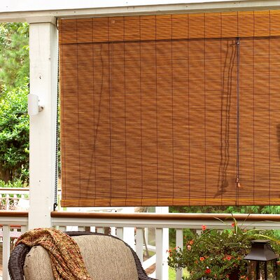 "Radiance Imperial Matchstick Bamboo Roll-Up Blind with 6"" Valance in Fruitwood"