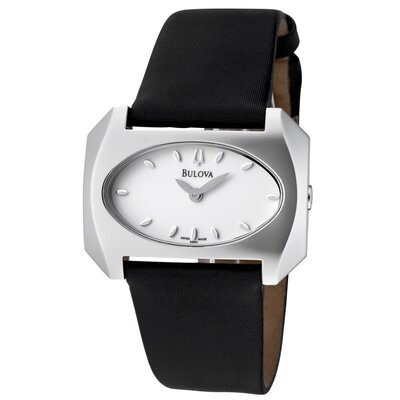 Bulova Women's Black Satin White Dial Watch