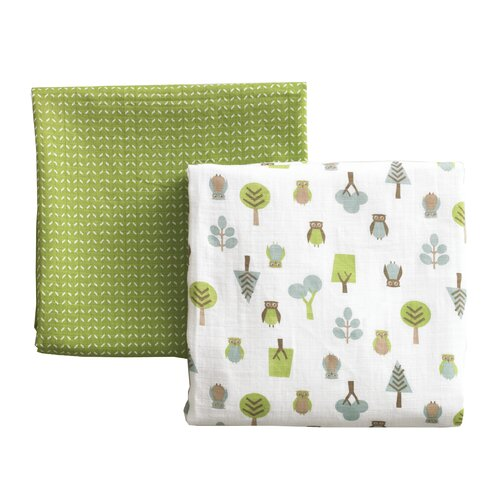 DwellStudio Owls Multi Swaddle Blanket - 2 Pack