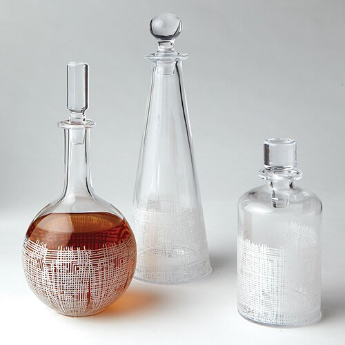 DwellStudio Crosshatch Cylinder Decanter in White